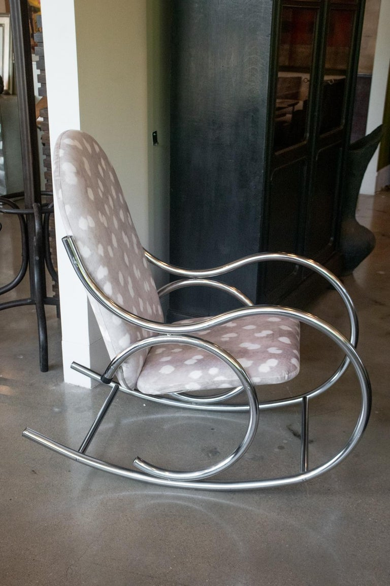 Vintage chrome rocking chair gets fresh look with cozy soft, fawn-spotted upholstery. Upholstery is new. 