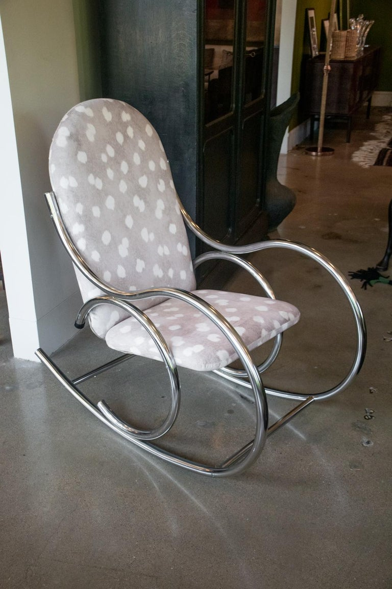 Mid-Century Modern Vintage Chrome Rocking Chair For Sale