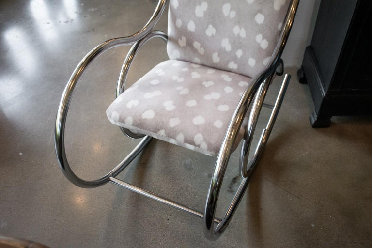 Vintage Chrome Rocking Chair In Good Condition For Sale In Austin, TX