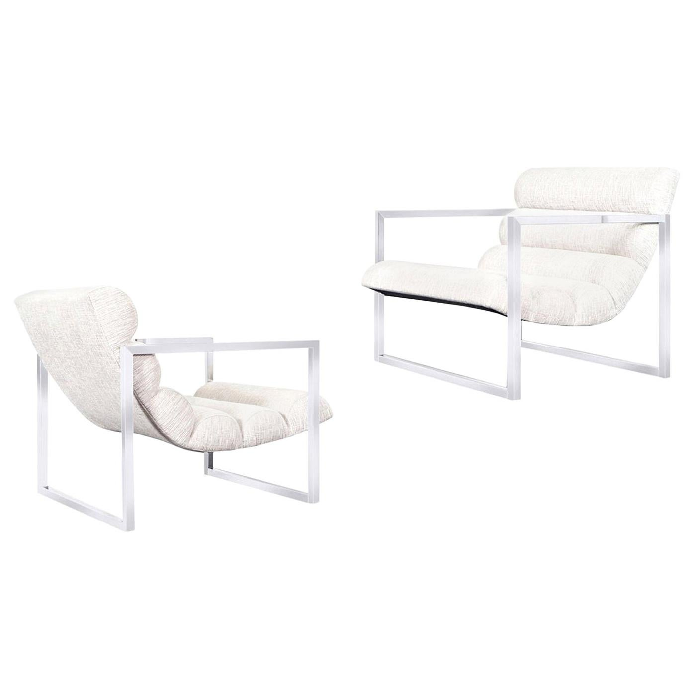 """Vintage Chrome """"Scoop"""" Lounge Chairs Attributed to Milo Baughman"""