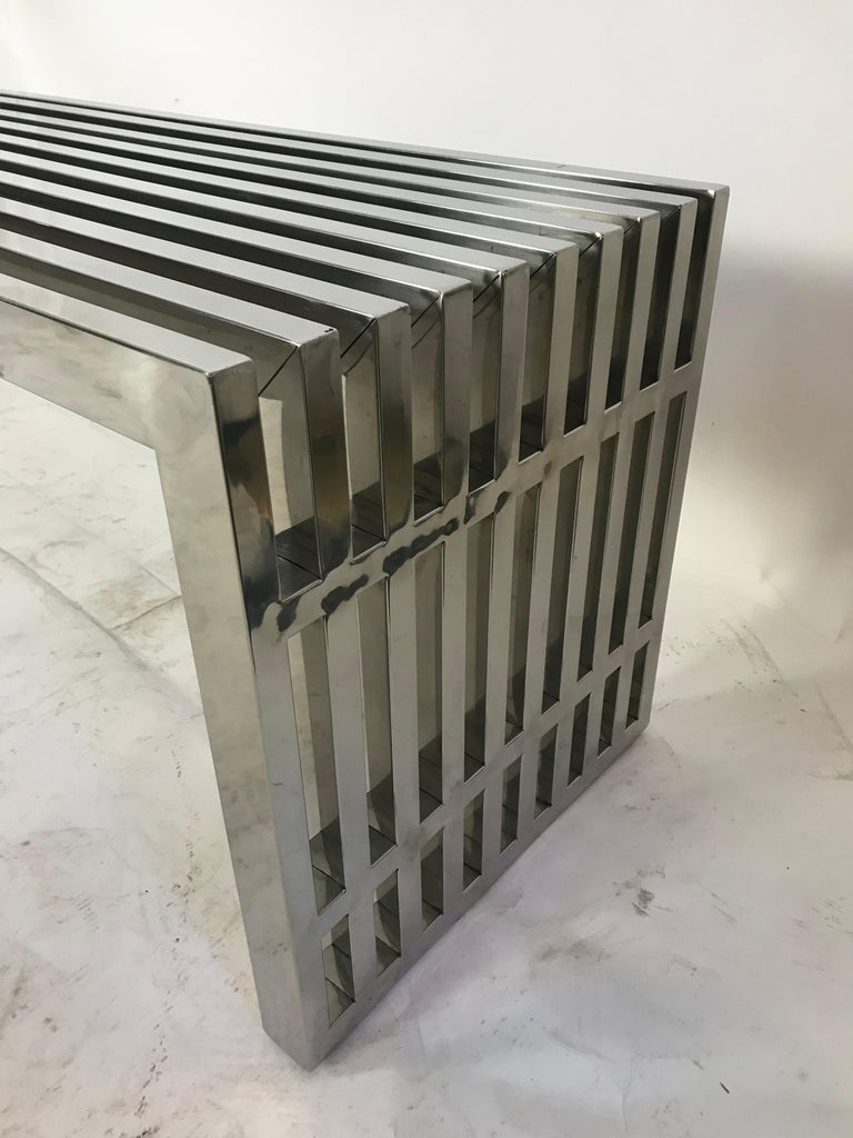 Late 20th Century Vintage Chrome Slat Bench or Coffee Table For Sale