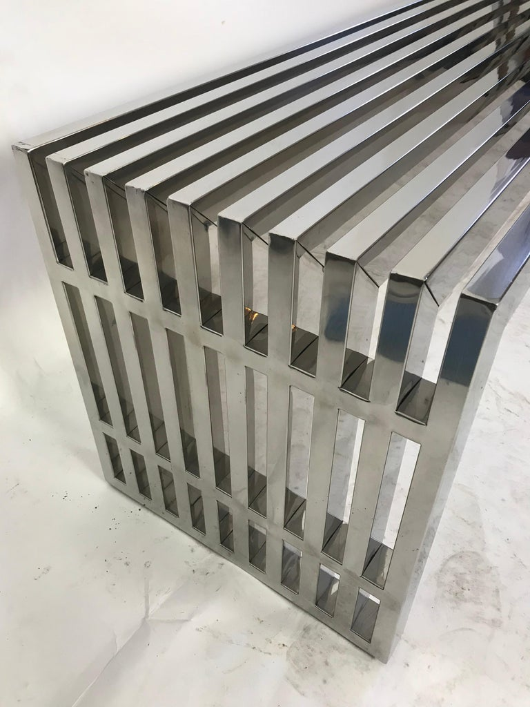 Vintage Chrome Slat Bench or Coffee Table For Sale 1