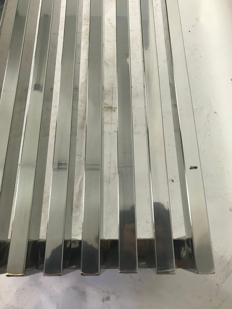 Vintage Chrome Slat Bench or Coffee Table For Sale 2