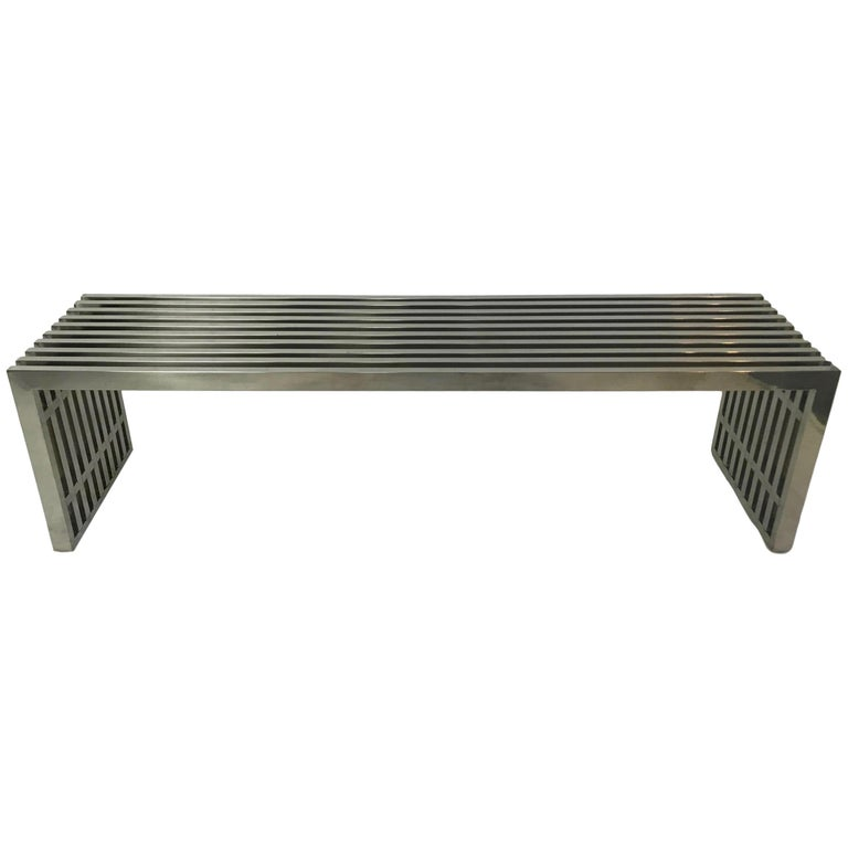 Vintage Chrome Slat Bench or Coffee Table For Sale