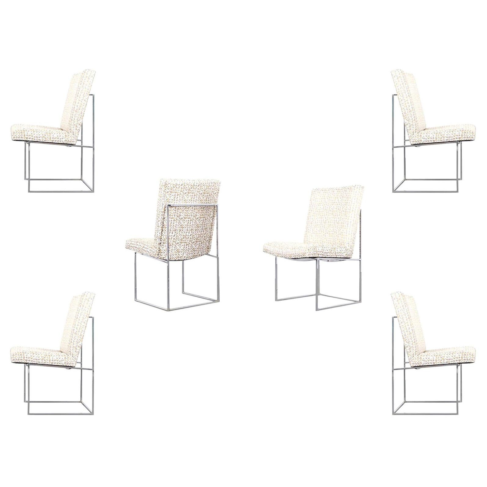 """Vintage Chrome """"Thin Line"""" Dining Chairs by Milo Baughman"""