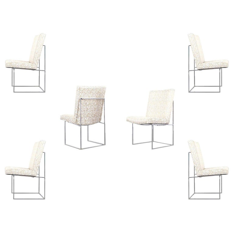 """Vintage Chrome """"Thin Line"""" Dining Chairs by Milo Baughman For Sale"""
