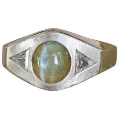 Vintage Chrysoberyl Cat's-Eye and Diamond 14 Karat White Gold Ring - Size 11 3/4