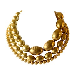 Vintage Chunky Architectural Triple Strand Gold Pearl Statement Necklace