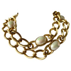 Vintage Chunky Christian Dior Gold Chain Pearl Necklace