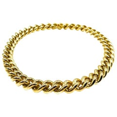 Vintage Chunky Gold Statement Curb Chain Collar 1980s