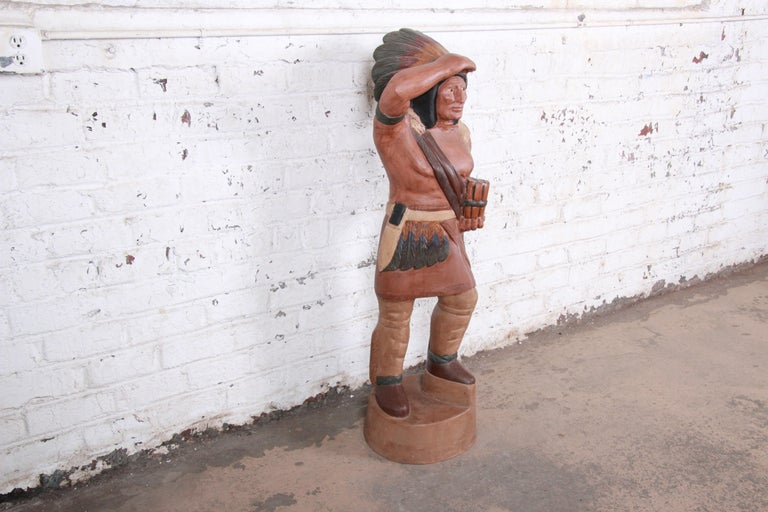 Native American Vintage Cigar Store Indian Statue For Sale