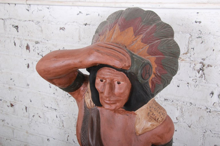 Vintage Cigar Store Indian Statue In Good Condition For Sale In South Bend, IN
