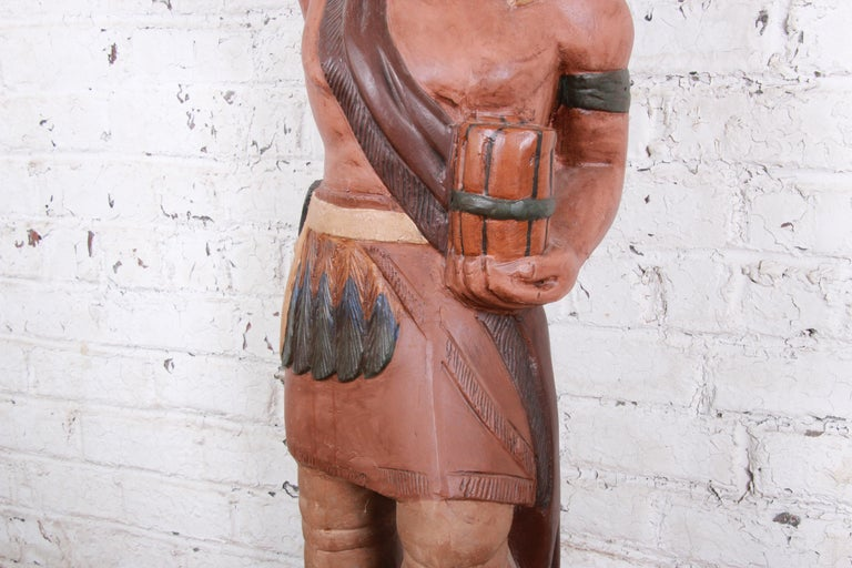 Metal Vintage Cigar Store Indian Statue For Sale