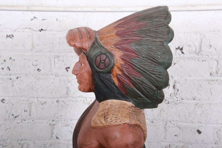 Vintage Cigar Store Indian Statue For Sale 2