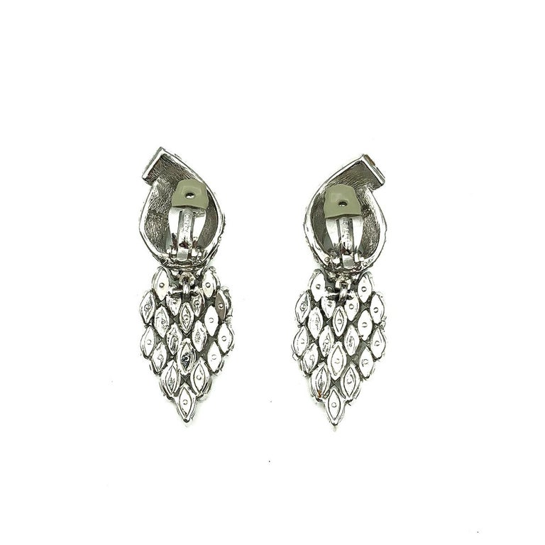 Women's or Men's Vintage Ciner Art Deco Crystal Statement Earrings 1980s For Sale