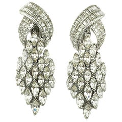 Vintage Ciner Art Deco Crystal Statement Earrings 1980s