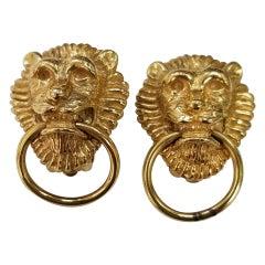 Vintage Ciner Gold Door Knocker Lion Earrings