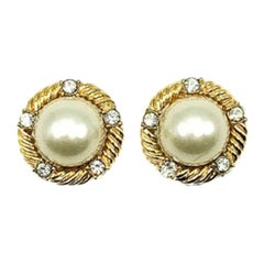 Vintage Ciner Gold Pearl & Crystal Earrings 1980s