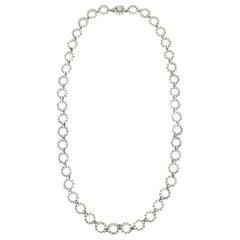 Vintage Ciner Long Art Deco Silver & Crystal Circle Necklace 1960s