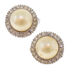 Vintage Ciner Pearl and Pavé Earrings, Signed