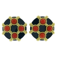 Vintage Cipullo Coral Black Onyx 18k Gold Earrings 1972