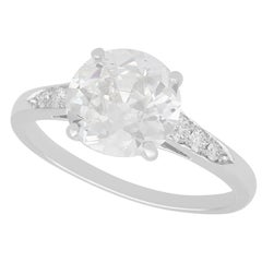 Vintage Circa 1920 and Contemporary 2.20ct Diamond and Platinum Solitaire Ring