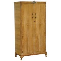 Vintage circa 1920s Walnut Wardrobe with Minty Internal Cupboard Shelves