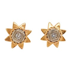 Vintage circa 1930 Diamond Estate Sun Earring Studs in 14 Karat Yellow Gold