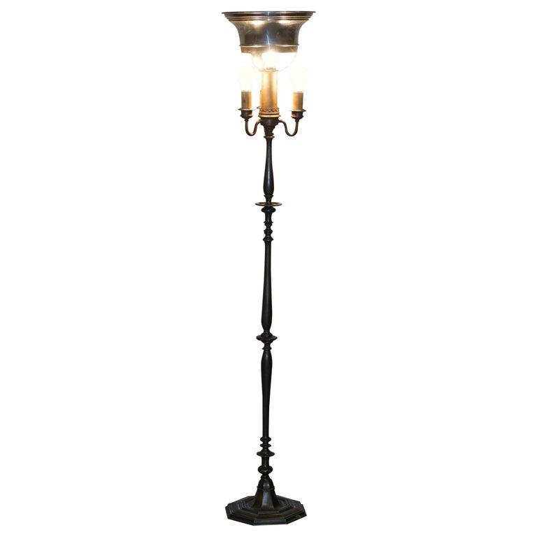 Vintage circa 1930s Freestanding Art Deco Floor Lamp with Bakelite Switches For Sale