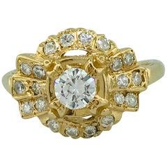 Vintage circa 1935 .50 Carat Diamond Engagement Ring in 14 Karat Yellow Gold