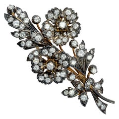 Vintage circa 1950, 5.40 Carat Diamond Silver Gold Floral Flower Bouquet Brooch