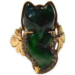 Vintage circa 1950s 14 Karat Gold Jade Diamond Fox Cocktail Ring