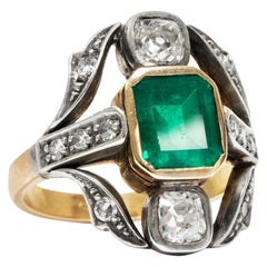 Vintage circa 1950s Certified 2.0 Carat Emerald and Diamonds Gold Cocktail Ring
