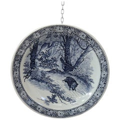 Vintage circa 1950s Large Royal Delft Boch Blue and White Wall Plate