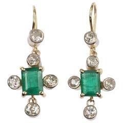 Vintage circa 1960 Diamond Emerald Platinum Gold Earrings