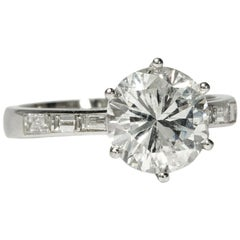 Vintage circa 1965 3.35 ct Brilliant-Cut White Diamond Platinum Solitaire Ring