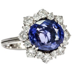 Vintage circa 1970, 4.30 Carat No Heat Blue Sapphire and Diamond Engagement Ring