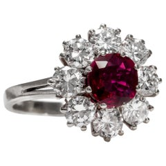 Vintage circa 1970 Certified 1.2 ct Ruby and 2 ct Diamond Entourage Cluster Ring