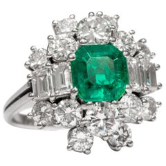 Vintage circa 1970, Certified Emerald Diamond White Gold Cocktail Cluster Ring