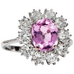 Vintage circa 1970 Certified No Heat 2.81 Carat Pink Sapphire Cluster Ring