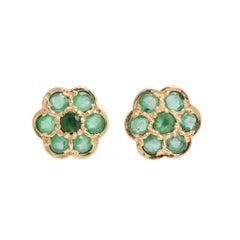 Vintage Emerald Flower Stud Earrings, circa 1980