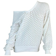 Vintage Circa 1993 Gianni Versace Sheer White Knit Baggy Sweater