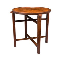 Vintage Circular Folding Tray Table, Haitian, Mahogany, Coffee, Serving, C.1930