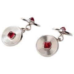 Vintage Circular Ruby Platinum Cufflinks