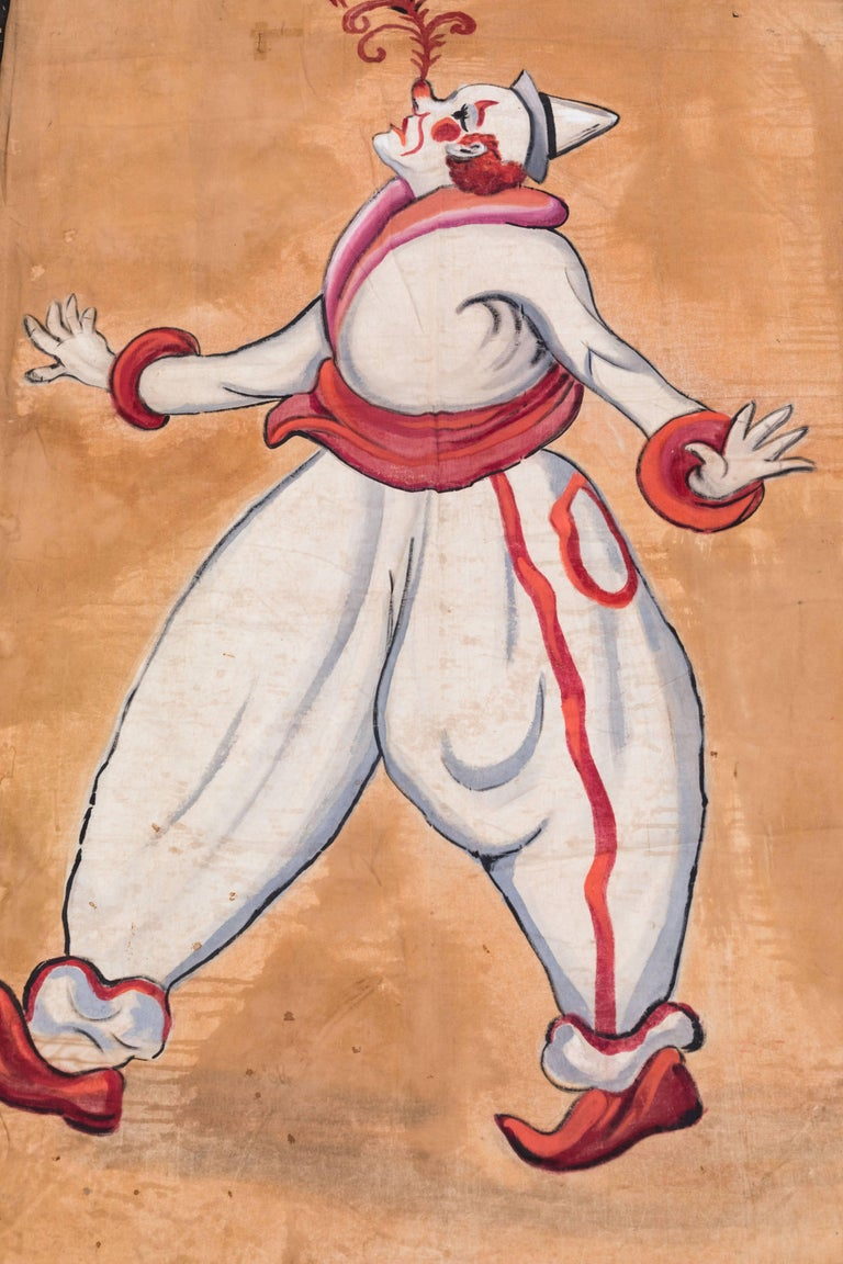 Vintage Circus or Sideshow Hand-Painted Giant Clown Banner, circa 1940s In Fair Condition For Sale In Santa Monica, CA