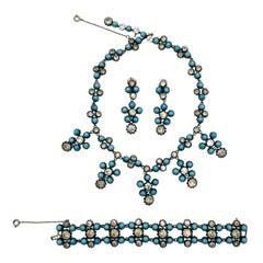 Vintage Cis by Cissy Zoltwoska Turquoise & Paste Girandole Parure 1960s