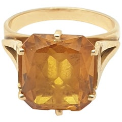 Vintage Citrine 18 Karat Rose Gold Ring