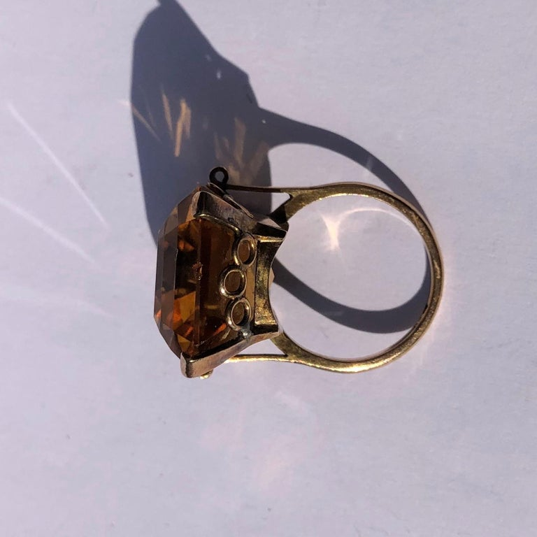 Emerald Cut Vintage Citrine and 9 Carat Gold Cocktail Ring