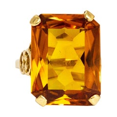 Vintage Citrine and 9 Carat Gold Cocktail Ring