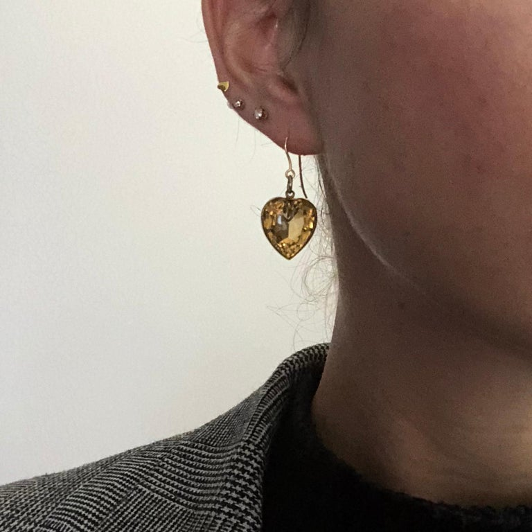 Women's Vintage Citrine and 9 Carat Gold Heart Drop Earrings